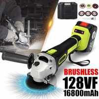 128vf 1200 w elétrico brushless angle grinder moagem máquina de corte elétrico ângulo moagem ferramenta elétrica com 16800 mah bateria