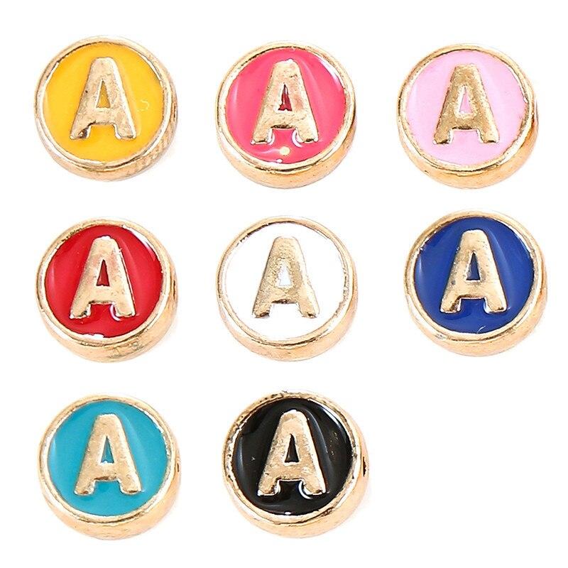 100 adet alfabe mektup çift yüz emaye uğurlu takı el yapımı kolye takı yapımı el yapımı DIY bilezik