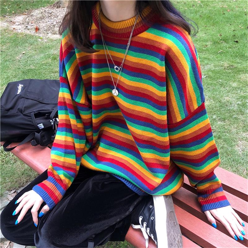 Women's Knit Sweater Loose Stripe Sweaters Long Sleeve Color Womens Pullover Japanese Kawaii Clothing Winter Clothes For Women