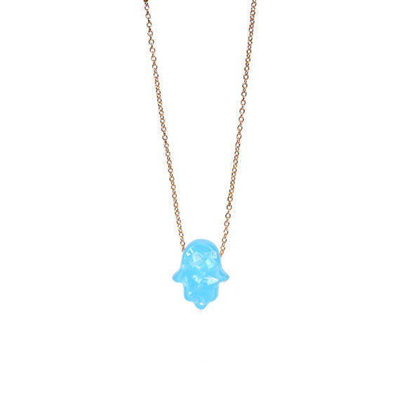 Fashion White Blue Opal Hamsa Necklace Link Chain Synthetic Palm Hand Pendant Necklace For Women Girls Best Gifts C in Pendant Necklaces from Jewelry Accessories