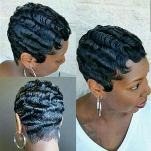 Image 3 - הפבורן סגנון קצר תחרה שיער טבעי פאות עבור נשים ברזילאי אוקיינוס גל רמי שיער טבעי אין ריח תחרת פאות שפתוחה נשים