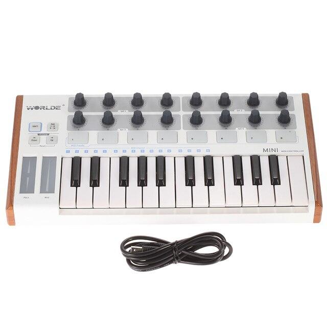 Worlde Mini controlador de batería y teclado, portátil, profesional, 25 teclas, USB, MIDI
