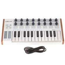 Worlde ultra portátil mini profissional 25 key usb midi tambor almofada e controlador de teclado