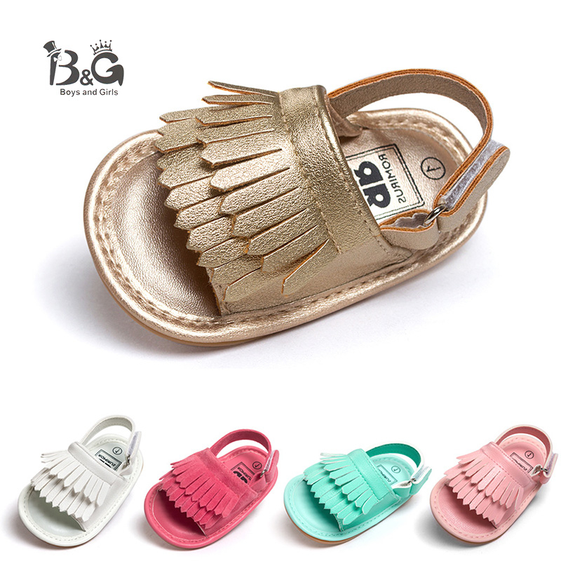 B&G Girl Pricess Shoes Summer Breathable Beach Sandals Anti-slip Baby Soft Rubber First Walkers Toddler Kids Shoes