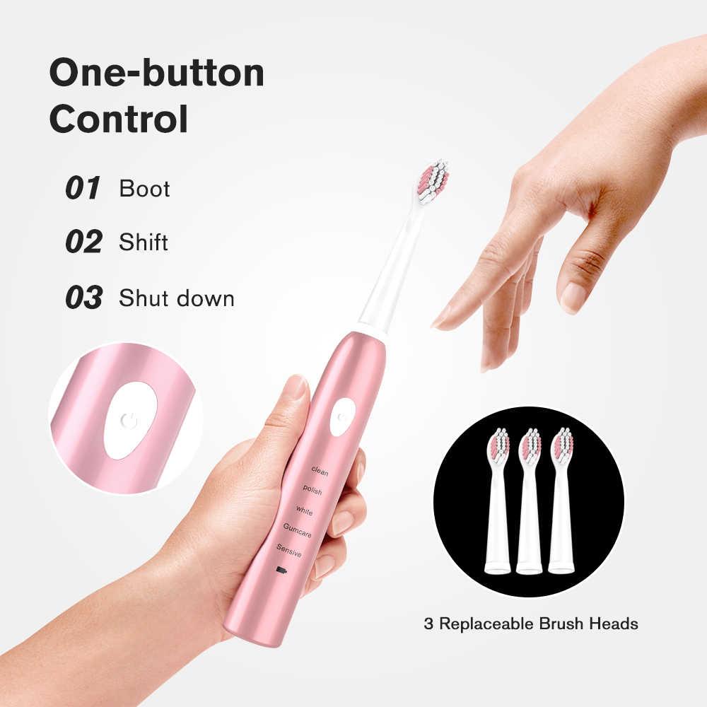 Leistungsstarke Ultra sonic Sonic Elektrische Zahnbürste USB Ladung Wiederaufladbare Zahn Pinsel Waschbar Elektronische Bleaching Zähne Pinsel