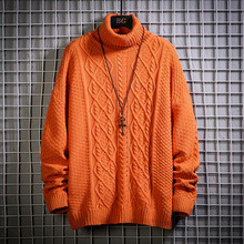 Turtleneck Sweater Pullover Knitted Wool Warm Men Winter Plus-Size Fashion Solid High-Quality