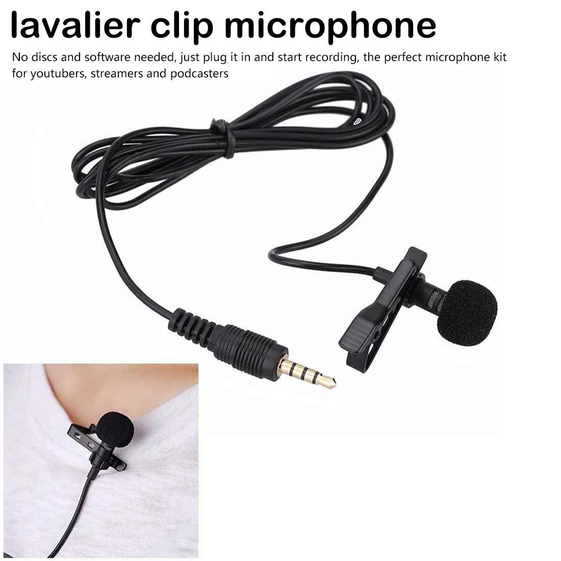 External 3.5mm Handsfree Speeching Microphone For Teaching Speeching Mini Wired Collar Clip Lapel Lavalier Microphone