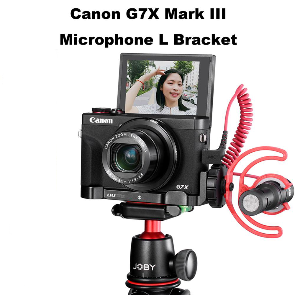 UUrig R016 Microphone L Plate for Canon G7X Mark III Comfortable Aluminum Bracket with Cold Shoe LED Light