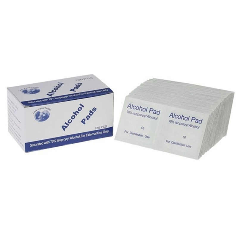 100pcs/Box Portable Alcohol Swabs Wipes Disposable Wound Disinfection Pad Antiseptic Cleaning Sterilization First Aid Home