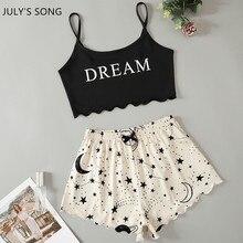 JULY'S SONG Summer Pajamas Set Cow Print For Women Short Sleeve Shorts Sleepwear Cotton Cute Girls Cartoon Casual PJ Set