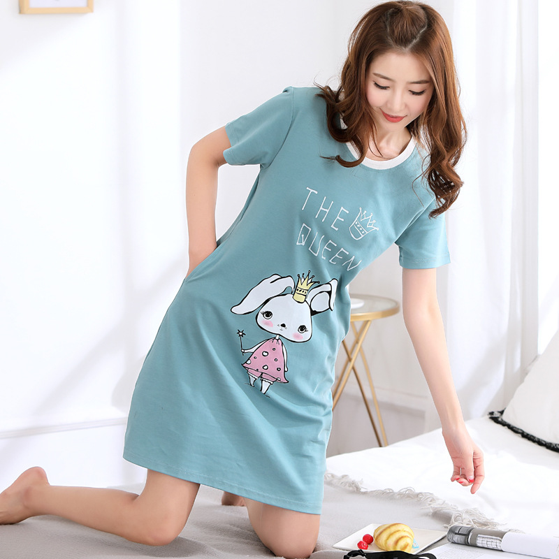 WOMEN'S Nightgown Medium-length Code-Fat Mm 200 Large GIRL'S Loose-Fit Pure Cotton Oversized Summer Girl'S Pajamas
