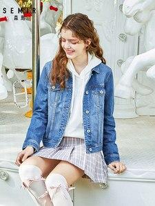 Image 5 - をセミール 100% 綿ショートデニムジャケットの女性の襟ガールボーイフレンドデニムジャケット胸ポケット傾斜ポケットシックなスタイル