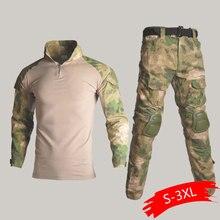 Тактическая БДУ, камуфляжная военная форма, костюм для мужчин, США, армейская одежда, страйкбол, военная боевая рубашка+ брюки-карго, наколенники