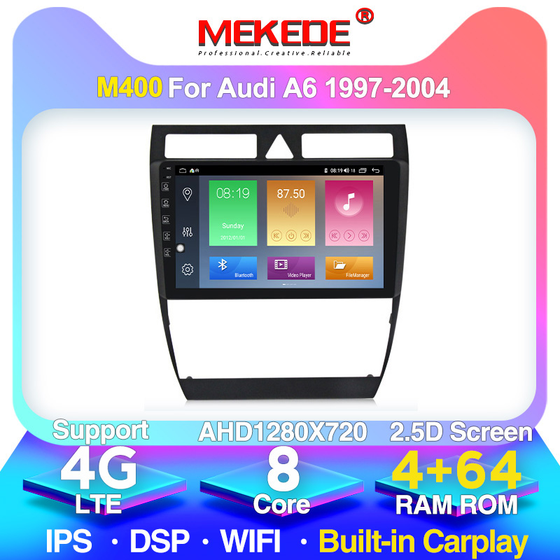 4G lte DSP Android 10 <font><b>GPS</b></font> <font><b>Navigation</b></font> car Radio for <font><b>Audi</b></font> <font><b>A6</b></font> S6 RS6 1997-2004 WIFI 2.5D IPS screen 8 core 4+64G built in Carplay image