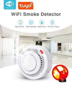 TUYA Smart Life WIFI kontrola aplikacji bezprzewodowe fotoelektryczne czujniki dymu fotoelektryczny Alarm przeciwpożarowy czujniki dymu tanie i dobre opinie BE-400A Czujka dymu