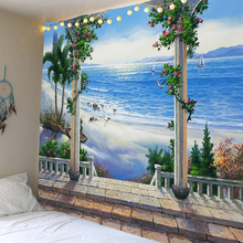 Seaside castle scenery beautiful beach background tapestry digital printing factory direct sales can be customized