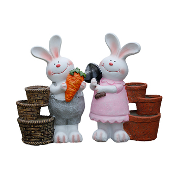 Outdoor Gardening Cute Animal Rabbit Flower Pot Ornaments Courtyard Park Furnishing Crafts Villa Balcony Figurines Decor A714 фото