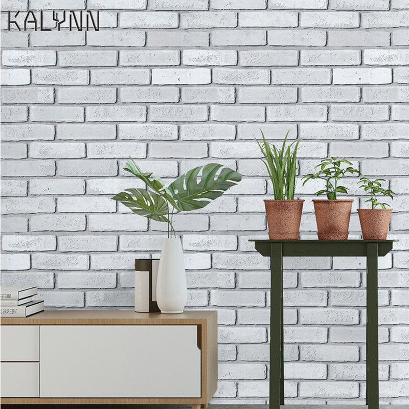 """White Brick Wallpaper Peel and Stick Wall paper 17.7""""x19.7ft Self Adhesive Contact Paper Wall Bedroom Kitchen Cabinet DIY Decor"""