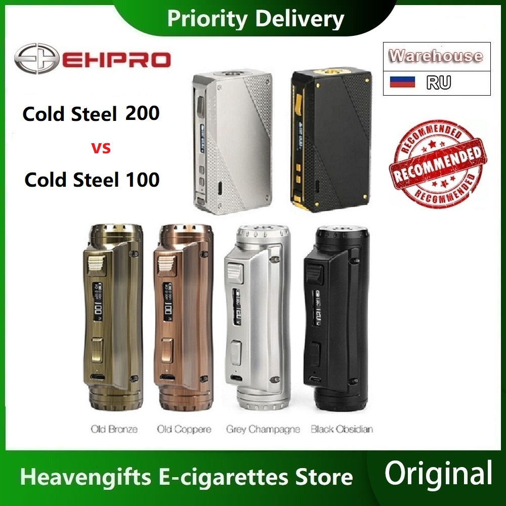 Newest Ehpro Cold Steel 100 120W TC Box MOD With 0.0018S Ultrafast Firing Speed Power By 18650/20700/21700 Battery