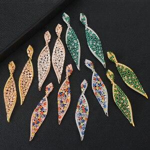 Image 2 - GODKI 2020 New Leaf Charms Earring For Women Wedding DUBAIStatement Earring for Women Gold Cubic Zircon Earrings Jewelry