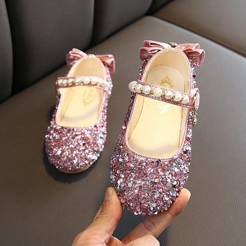 Children Kids Girls Cute Crystal Bowknot Pearl Princess Dance Casual Single Shoe