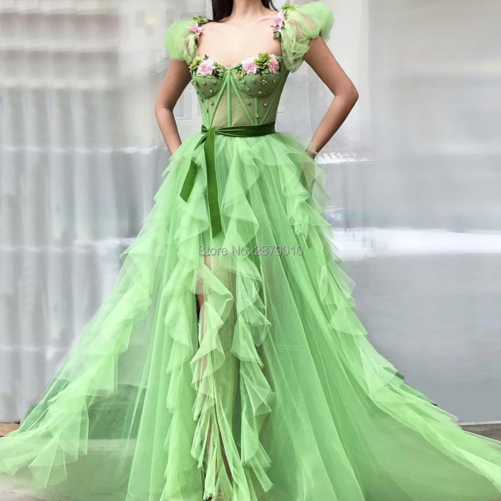 2019 Sweetheart A-Line Long Evening Dress Appliques Sash Beaded The Skirt Split Floor-Length Tulle Women Dress Prom Dress Zipper