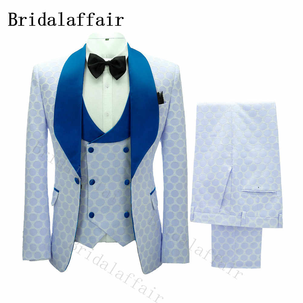 Bridalaffair Gentle Men White Suit with Blue Polka Dot Embroidery Wedding Groom Costume Blue Lapel Double Breasted Vest Pants
