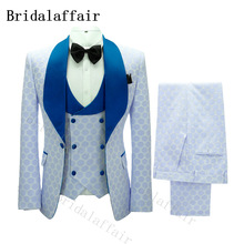 White Suit Costume Wedding Double-Breasted Pants Vest Groom Embroidery Lapel Gentle Blue