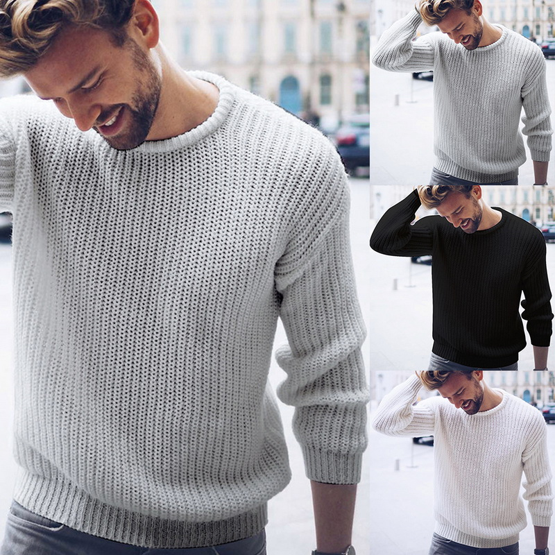 SHUJIN Men Brand Sweater Black White Casual Knitted Pullover Solid O Neck Men Sweaters Fashion Streetwear Autumn Winter Tops