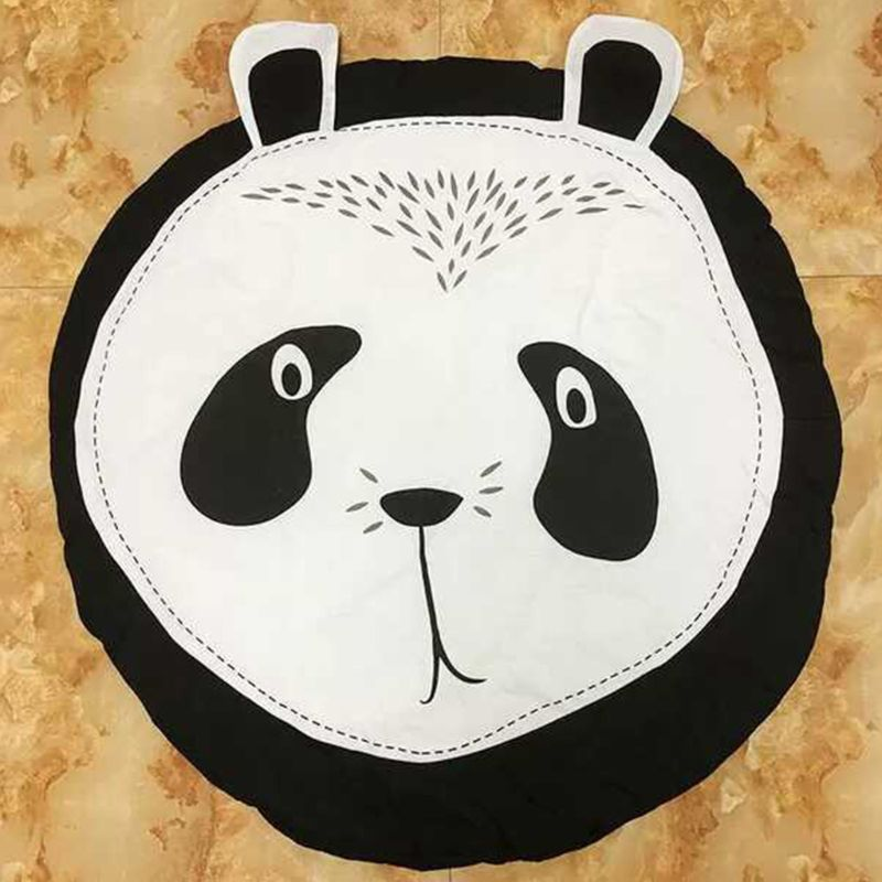 Cartoon Panda Cotton Children Crawling Mat Kids Game Round Pad Baby Room Decoration Carpet U50F