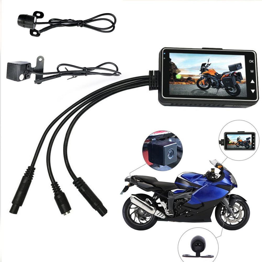 DVR Dash-Cam Motorcycle Driving Video-Recorder Dual-Lens High-Definition Lcd-Display
