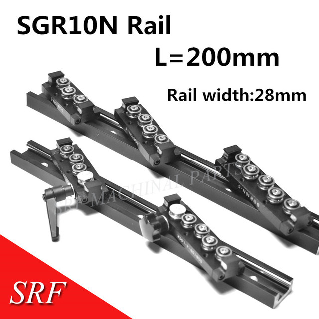 28mm width Rectangle wheel  Linear Guide Rail 1pcs SGR10N Length=200mm with SGB10N 4UU four wheel slide block for CNC parts