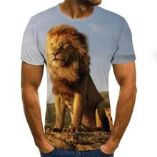 2020 color printing men's T-shirt fashion lion pattern O-neck pullover men's 3D T-shirt