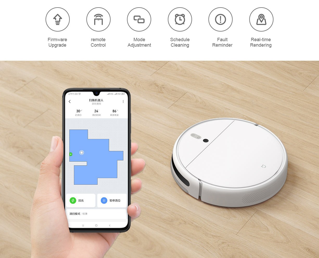 Hb38ccf6599e04687ac7711852efccf9e9 Xiaomi Mi Robot Vacuum Cleaner 1C Sweeping Mopping STYTJ01ZHM for Home Automatic Dust Sterilize Smart Planned Cleaner