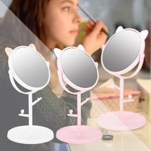 Makeup Mirror Rotatable Desktop Cute with Tray Makeup-Mirror-Lights Household