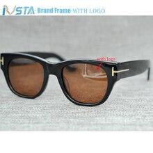 IVSTA Tom TF58 5040 avec logo lunettes de soleil femmes réel fait à la main acétate hommes marque de luxe concepteur Demi tortue grand surdimensionné Punk