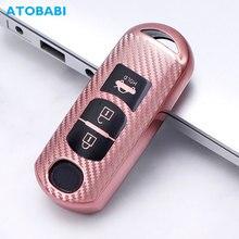 jingyuqin silicone car key cover remote case for mazda 2 3 5 6 cx 3 cx 5 cx 7 cx 9 speed miata mx5 shell protector 2 3 4 button TPU Car Key Cover For Mazda 6 Axela Atenza CX-7 CX-9 CX-5 CX5 15-18 3 Buttons Smart Keychain Carbon Style Remote Protector Case