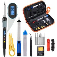 Handskit 90w Soldering Iron kit Digital Adjust Temperature Soldering Iron kit with Soldering Tips Desoldering Pump Welding Tools