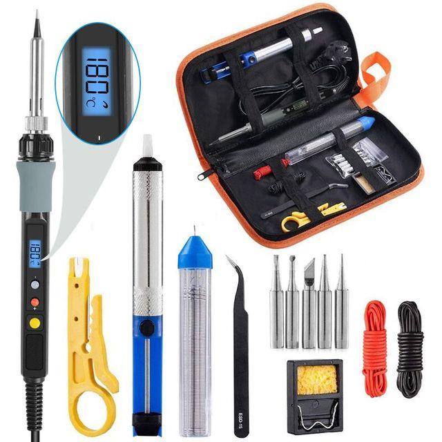 Kit per saldatore Handskit 90w kit per saldatore a temperatura regolabile digitale con punte per saldatura strumenti per saldatura con pompa dissaldante