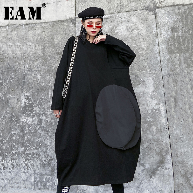 [EAM] Women Black Split Joint Big Size Long Dress New Round Neck Long Sleeve Loose Fit Fashion Tide Spring Autumn 2020 1N299