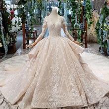 HTL433 long sleeves lace wedding dresses with train v neck open back puffy ruffle heavy handwork vestido madrina boda