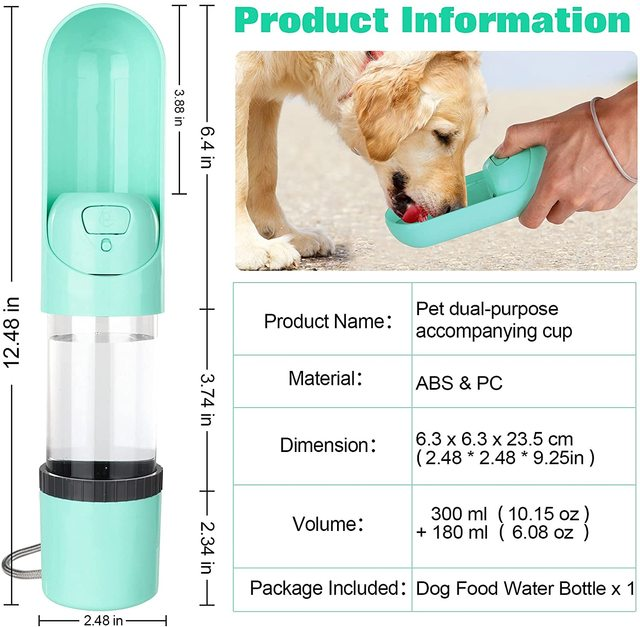 2021 Portable Pet Dog Water Bottle 300ml Drinking Bowl for Small Medium Large Dogs Feeding Water Dispenser Dogs Outdoor Bottles 4