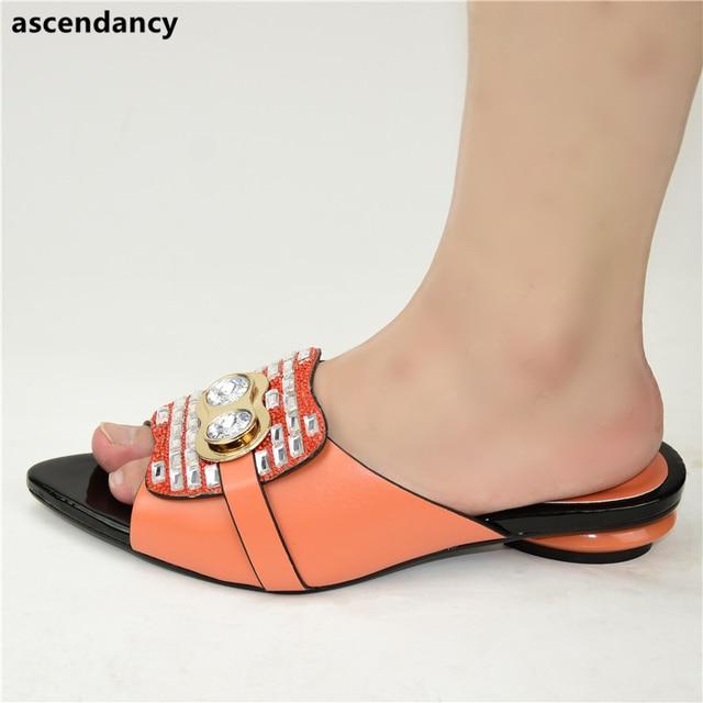 New Fashion Luxury Shoe Women Designers Nigerian Party Pumps Wedding Low Heels Plus Size Ladies Sandals with Heels Slip on Shoes
