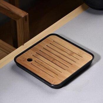 Bandeja de té de madera sólida china, bandeja de té, juego de té Kung Fu, bandeja de drenaje tipo cajón de mesa