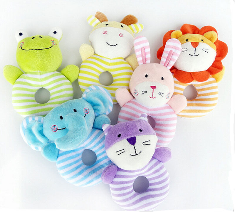 Cute Lovely Stuffed Animals Soft Plush Rattle Toys Boys Girls Cuddle Toddler Infant Baby Toy