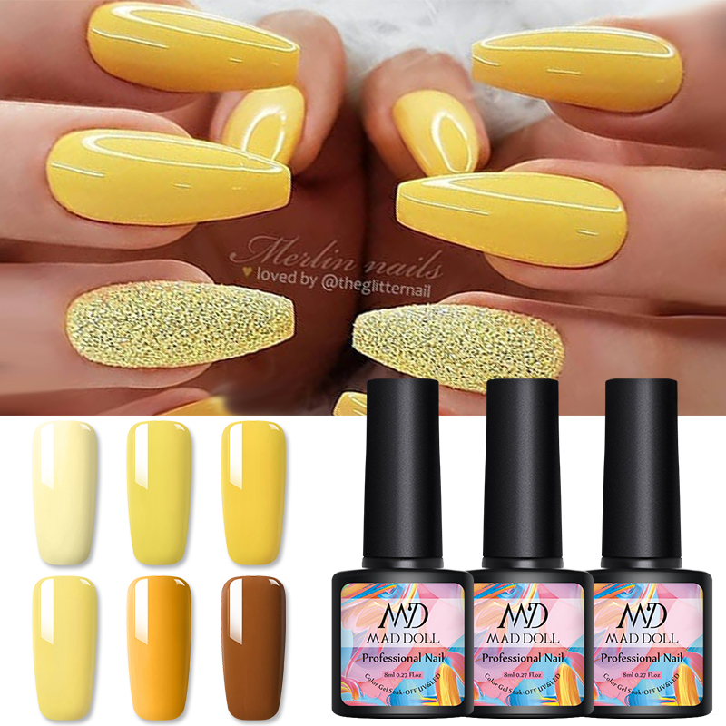 8ml MAD DOLL Soak Off UV Gel Polish Yellow Series Nail Art Nail Gel Polish Varnish Nail Art  Designs Varnish 1 Bottle