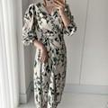 Женское летнее элегантное платье с v-образным вырезом и цветочным принтом, платье на шнуровке, шифоновое платье с коротким рукавом, женские ...