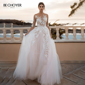 Image 1 - BECHOYER Fairy Pink A Line Wedding Dress 2020 Appliques Lace Court Train Princess Bridal Gown Illusion Vestido de Noiva FY76