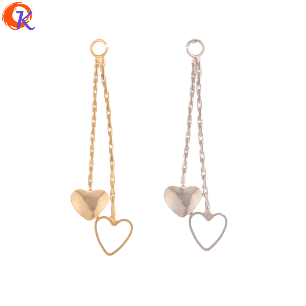 Cordial Design 30Pcs 3*33MM Jewelry Accessories/Hand Made/Heart Shape/Genuine Gold Plating/Earrings Connectors Chain/DIY Making