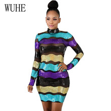 WUHE Colorful Striped Sequined Dress Vintage Elegant Sexy Party Club Wear Mesh Tight Women O Neck Autumn Red Blue Sequin